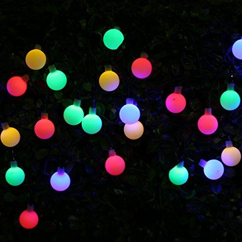Solar Lichterketten mit 30 LEDs BOHMAIN 4.5 Meter Lang Garten Beleuchtung Bunte Laternen Außenwandbeleuchtung für Partys, Weihnachtendeko, Außenwandbeleuchtung, Fest Deko, Pflanzen u.s.w.-Bunt