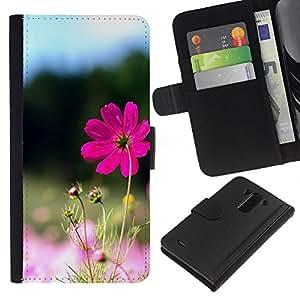 YiPhone /// Tirón de la caja Cartera de cuero con ranuras para tarjetas - Purple Flower Valley - LG G3