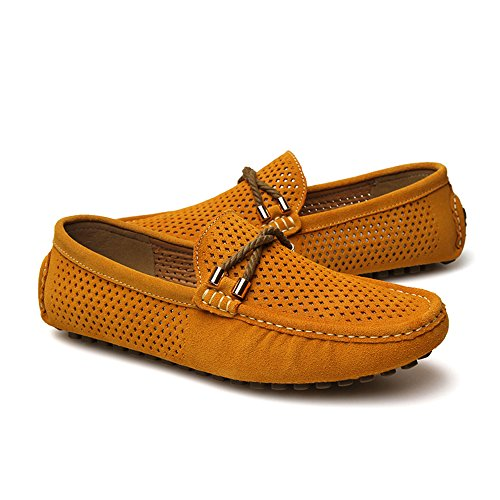 Air Summer Flat Suede Breathable Hole Shoes Men's SUNROLAN Moccasin Yellow on Slip Driving Loafers qEw45Yx