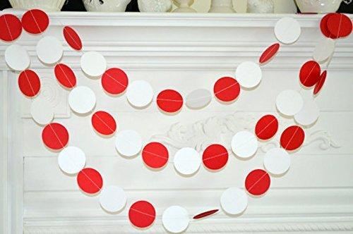 Red white circle wedding garland Christmas Garland Banner paper garland Baby shower bridal shower decor Birthday Party Decor home decor