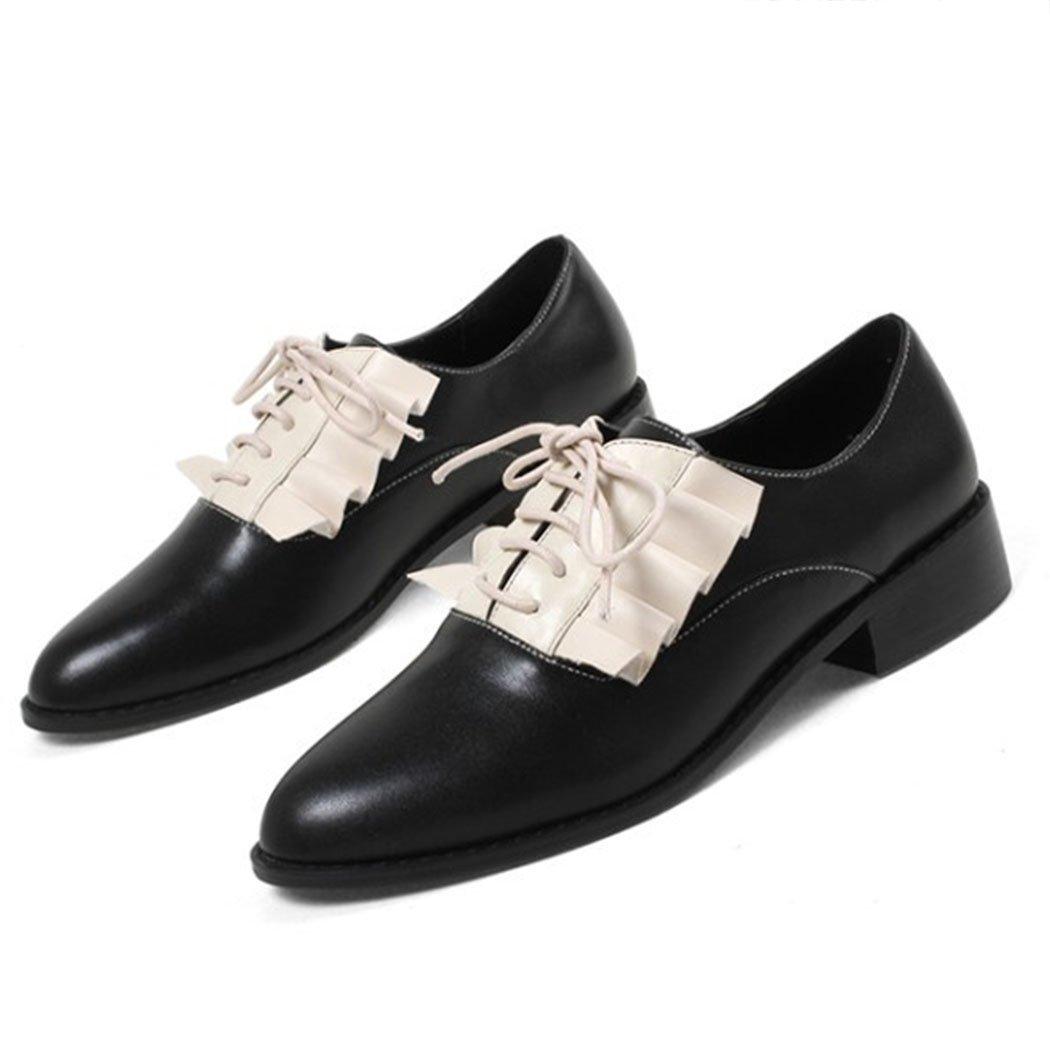 GAOLIXIA Damenschuhe Flache Freizeitschuhe Runde Kopf Rüschen Lace up Freizeitschuhe Literarische Wild Casual Schuhe