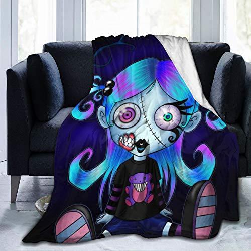 Yangzhi Halloween Girl Voodoo Doll Gothic Cute Zombie Full Fleece Throw Cloak Wearable Blanket Flannel Fluffy Comforter Quilt Nursery Bedroom Bedding Decor Queen King Size Plush Soft Cozy