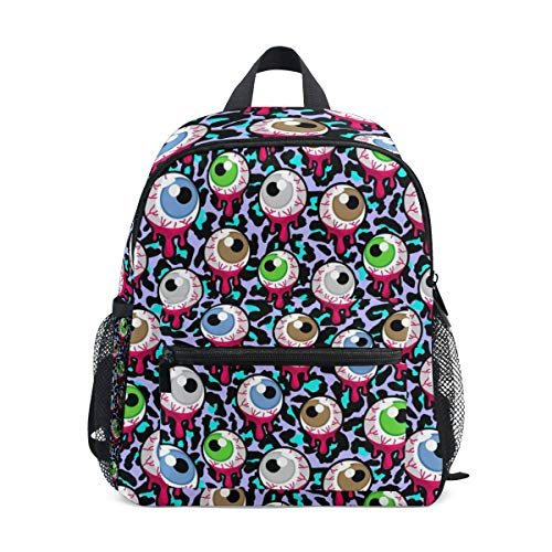 Backpack with Halloween Gothic Eyeball Eye Zombie Print, Mini School Bags for 1-6 Years Old -