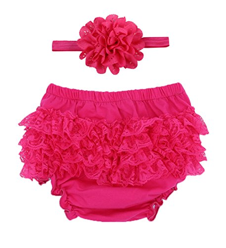 And 1 Cotton Headband - Luyun Infant and Toddlers Girls Cotton Tulle Ruffle with Bow Baby Bloomer Diaper Cover and Headband Set (S, n rose red)