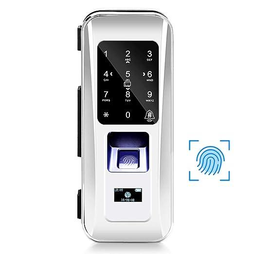 Cerradura de Seguridad Inteligente, Cerradura Electrónica Biométrica de Puerta de Vidrio con 3 Formas de Desbloquear Huella Dactilar Contraseña ...