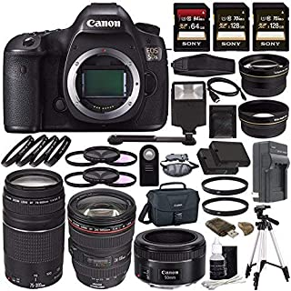 Canon EOS 5DS DSLR Camera (Body Only) + Canon EF 24-105mm f/4L is USM Lens + Canon EF 75-300mm f/4-5.6 III Lens + Canon EF 50mm f/1.8 STM Lens + Battery + Charger + Sony 64GB & 128GB SDXC Card Bundle