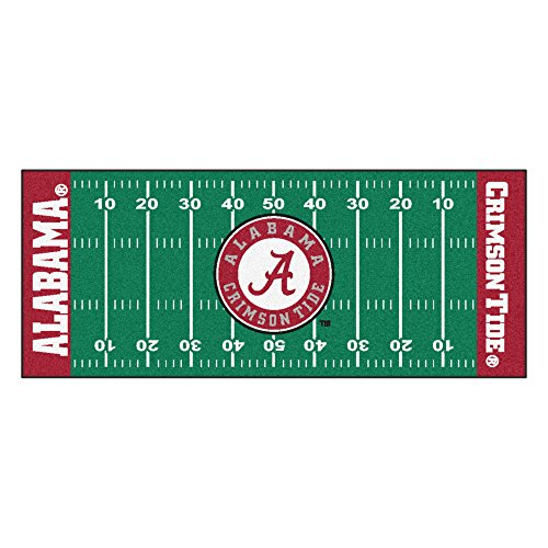 FANMATS NCAA University of Alabama Crimson Tide Nylon Face Football Field Runner (Rug Crimson Medium Rug)
