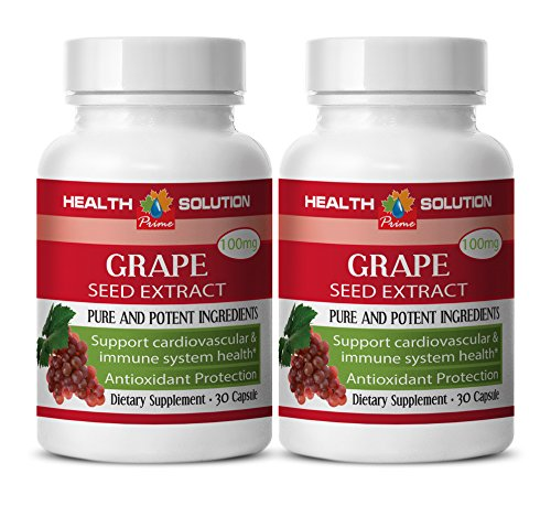 Blood pressure vitamins - GRAPE SEED EXTRACT - Grape seed extract bulk - 2 Bottles 60 Capsules by Health Solution Prime