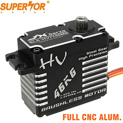 JX Servo BLS-HV7146MG 46KG 180 Degree HV High Precision Steel Gear Full CNC Aluminium Shell Structure Digital Brushless Standard Waterproof Servo for RC car Buggy Robot