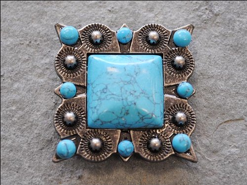 1 PIECE TURQUOISE SQUARE RHINESTONE CONCHO BLING HEADSTALL TACK SADDLE BELT (Concho Ribbon)