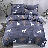 Fantasy Star The Deer In the Autumn Forest Happy Everyday Comforter Bedding Set, Print 4 Piece Home Decoration Soft Duvet Cover Set, Include 1 Flat Sheet 1 Duvet Cover and 2 Pillow Cases