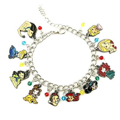 J&C Family Owned Brand Disney Princess Charms Lobster Clasp Bracelet w/Gift Box
