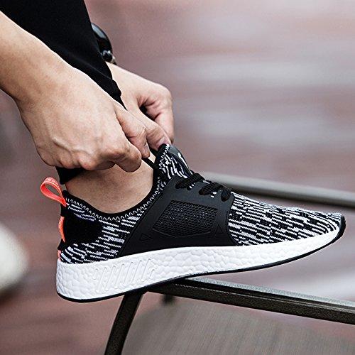 Herren Sportschuhe Sneakers Ultra Leichte Laufschuhe Training Sport Turnschuhe Atmungsaktiv Knit Schnüren Schuhe SneakerMänner Grau/weiss