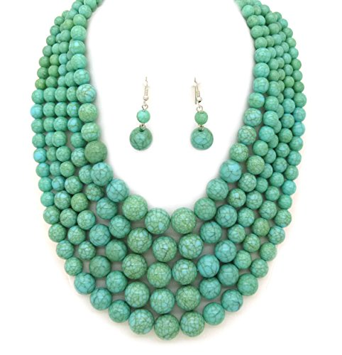 (Fashion 21 Women's Five Multi-Strand Simulated Pearl Statement Necklace and Earrings Set (Turquoise))