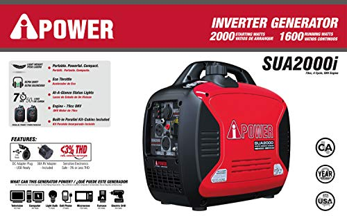 A-iPower SUA2000iV Super Quiet 2000-Watt Portable Generator CARB/EPA, 2000 Ready