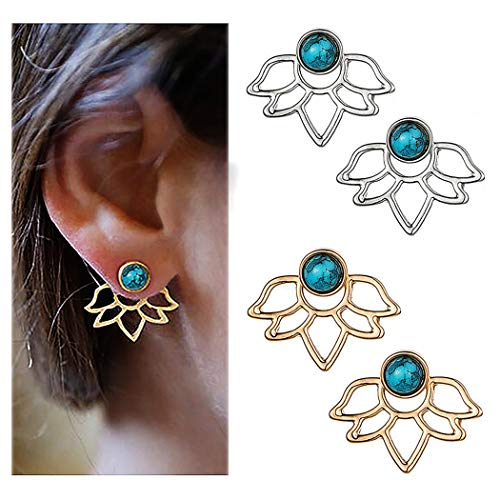 Suyi Fashion Hollow Lotus Flower Earrings Turquoise Simple Chic Stud Earrings Set CGS