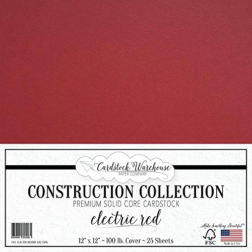 Stock Electric Company (ELECTRIC RED Cardstock Paper - 12 x 12 inch PREMIUM 100 LB. COVER from - 25 Sheets from Cardstock Warehouse)