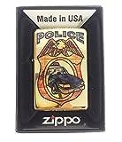 Zippo Custom Lighter - Blue Line Police Car Fuzion - High Polish Brass