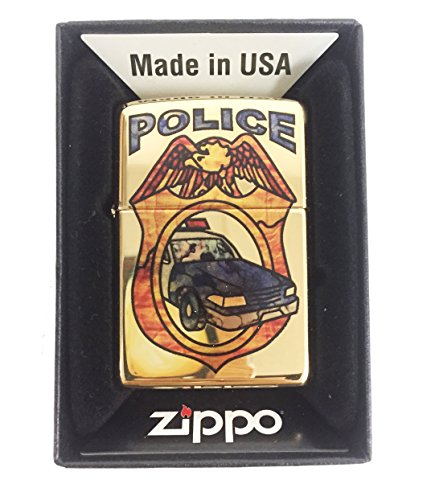 Zippo Custom Lighter - Blue Line Police Car Fuzion - High Polish Brass (Car Zippo)