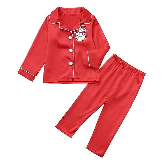 f0c70f80c6 SUJING Christmas Kid Baby Boys Girls Christmas Pajamas Set Xmas Homewear  Cartoon Snowman Sleepwear (Red