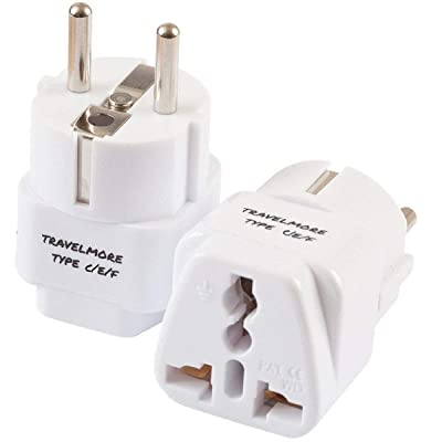 2 Pack European Travel Adapter Plug for European Outlets - Type C, Type E, Type F - Europe Plug Adapter Works in France, Spain, Italy, Germany, Netherlands, Belgium, Poland, Russia & More: Home Audio & Theater