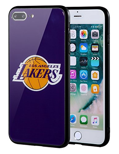 The Mass iPhone 8 Plus case, iPhone 7 Plus case, NBA Team Logo on Tempered Glass Back Cover and Soft TPU Frame for iPhone 8 Plus/7 Plus (Los Angeles Lakers)