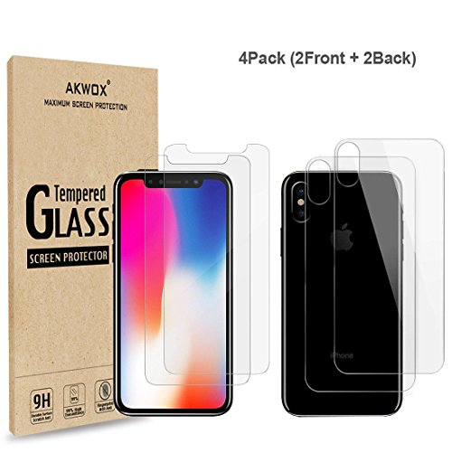 ((4-Pack) Screen Protectors for iPhone X with Back Covers, Akwox 9H Tempered Glass Front Screen Protector and Back Screen Protector for iPhone X)