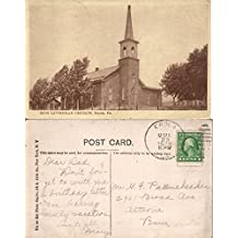 ENOLA PA ZION LUTHERAN CHURCH 1915 ANTIQUE POSTCARD w/ CORK CANCEL