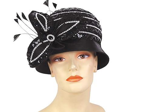 e6fdbee73e49b Ms Divine Collections Women s Satin Church Dress Derby Hats - H906 (Black)