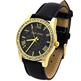 Ladies Gold Tone Black Glitter Dial Leather Band Fashion Casual Quartz Wrist Watch Watches Mark Naimer