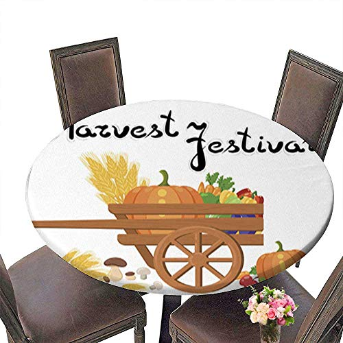 Polyester Round Table Cloth,Harvest Festival Harvest Fruits and Vegetables Autumn Collection of Elements Table up to 43.5