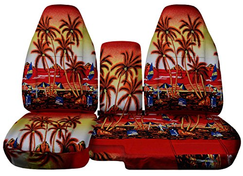 Fits 1991-1997 Ford Ranger/Explorer Mazda Navajo/B-Series Hawaiian Truck/SUV Seat Covers (60/40 Split Bench) w Center Console/Armrest Cover: Red w Palm Tree (4 Prints) 1992 1993 1994 1995 (Mazda Navajo Suv)