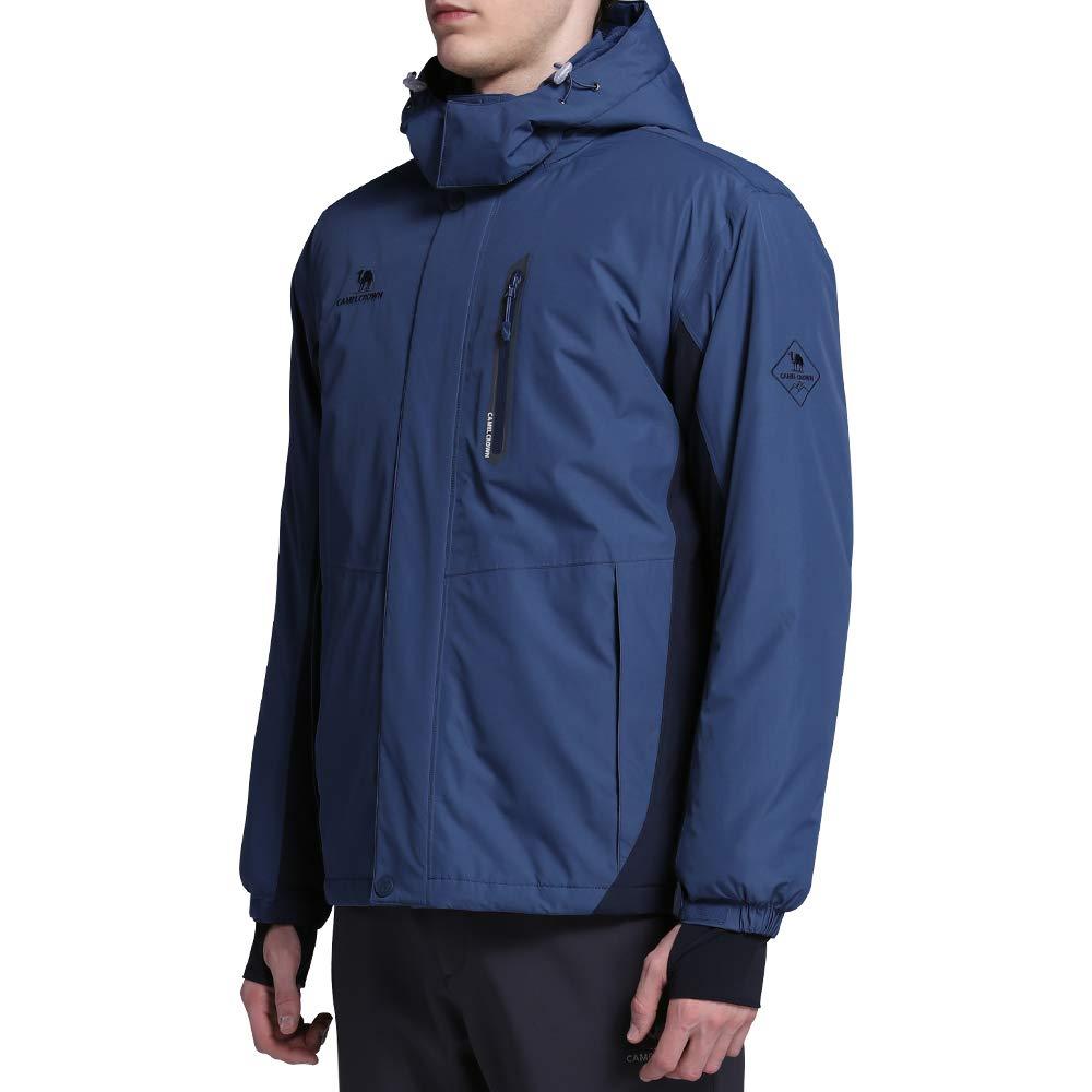 CAMEL CROWN Mens Waterproof Ski Jacket Mountain Windbreaker Fleece Hooded Coat