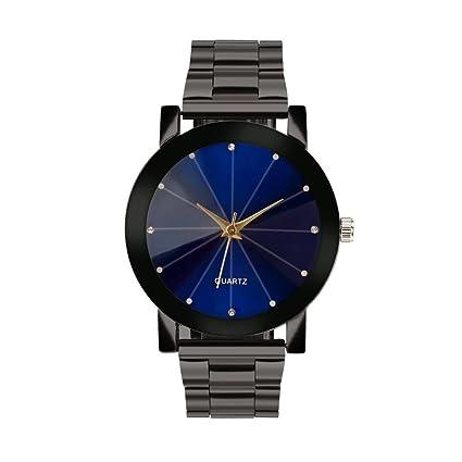 Reloj de cuarzo analógico para hombre y mujer, pantalla de cristal y redonda, resistente