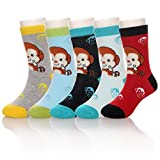 Eocom 5 Pairs Children's Winter Warm Cotton Socks Novelty Kids Boys Girls Socks (9-12 Years, Monkey)