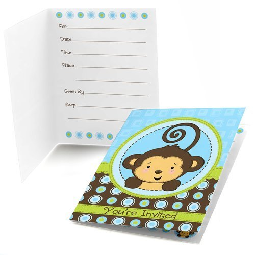 Big Dot of Happiness Monkey Boy - Fill-in Baby Shower or Birthday Party Invitations (8 Count)