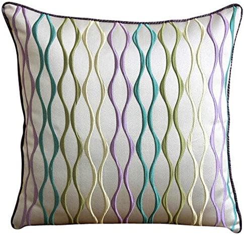 Handmade Multicolor European Pillow Shams 26×26 inch 65×65 cm , Jacquard Euro Sham Covers, Striped, Abstract, Striped, Modern Euro Sham Covers – Multicolor Waves