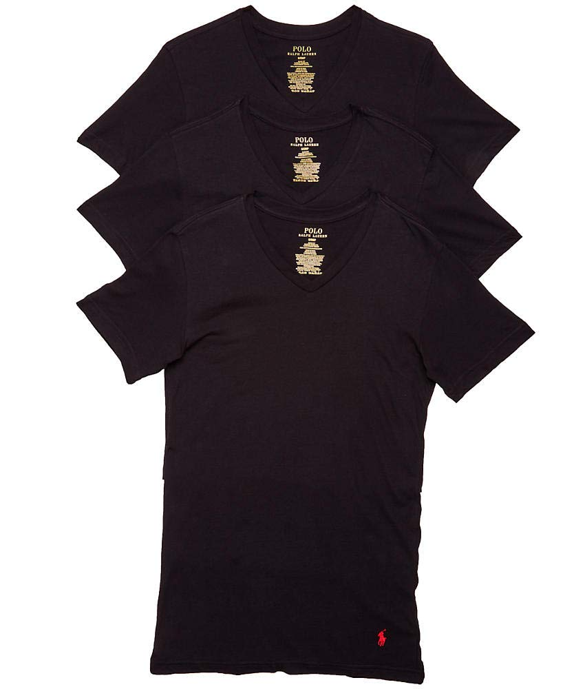 Polo Ralph Lauren Slim Fit w/Wicking 3-Pack V-Neck Black/RL2000 Red Pony Print LG by Polo Ralph Lauren