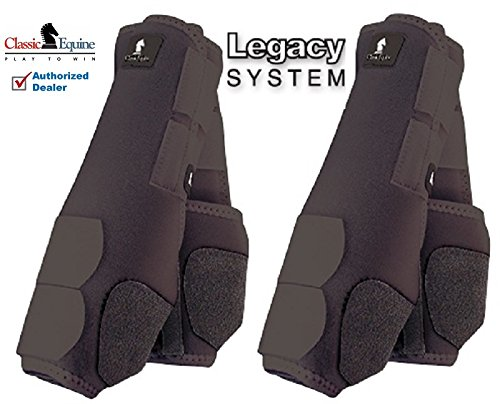 - M- 4 PACK BLACK CLASSIC EQUINE LEGACY SYSTEM HORSE FRONT REAR HIND SPORT BOOT
