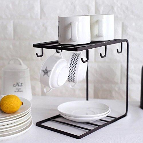 Bronze Mug Drying Holder Rustic Iron Coffee Cup Display Stan