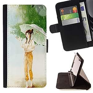 Momo Phone Case / Flip Funda de Cuero Case Cover - Chica con paraguas de la historieta;;;;;;;; - Samsung Galaxy S4 IV I9500
