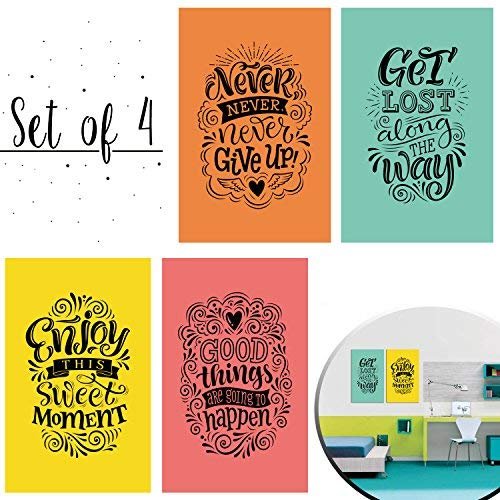 - Set of 4 Inspiring and Positive Posters with a Special and Unique Design to Make your Place an Environment of Good Vibes - Art Decor with Double Sided Mounting Tape - 11 x 17 Inches