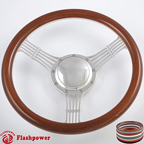 Billet Half Wrap Steering Wheel - Flashpower 14'' Billet Banjo Half Wrap 9 Bolts Steering Wheel with 2'' Dish and Horn Button (Walnut Wood)