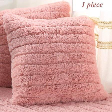 Farmerly 1 Pcs Plush Fabric Sofa Cover Towel Solid color European Soft Slipcover Resistant Seat Couch Cover for Living Room Window Mats   Pink Pillowcase, 90x90cm 1pc