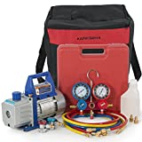 ARKSEN 4CFM Vacuum Pump, Manifold Gauge for R134A Refrigerant Air Condition with Carrying Tote Kit