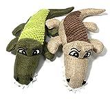 Twin Pack! Crocodile Dog Squeak Toy Hemp Fabric/Tuscan Olive Green + Oatmeal Beige Medium (11.5″) by Sancho & Lola's For Sale