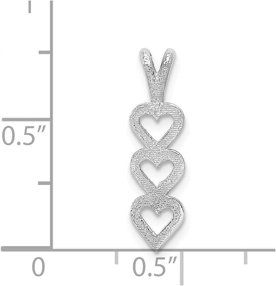 FB Jewels Solid 14K White Gold Triple Heart Pendant