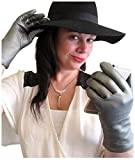 Fownes Women's Cashmere Lined Smart Pewter Silver Leather Gloves 9/XXXL