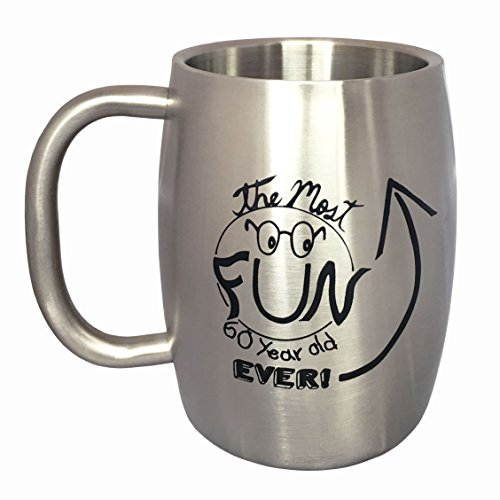60th Birthday Gifts for Men - Stainless Steel Mug (14 ounces) - Insulated Beer Mug or Large Coffee Mug for Men by Lifestyle Banquet by Lifestyle Banquet