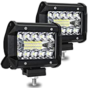 #LightningDeal AMBOTHER LED Pods Light Bar 4 Inch 120w 12800lm Driving Fog Off Road Lights Triple Row Waterproof Spot Flood Combo Beam LED Cubes Lights For Pickup Truck Jeep ATV UTV SUV Boat, 2 Year Warranty, 2 Pack